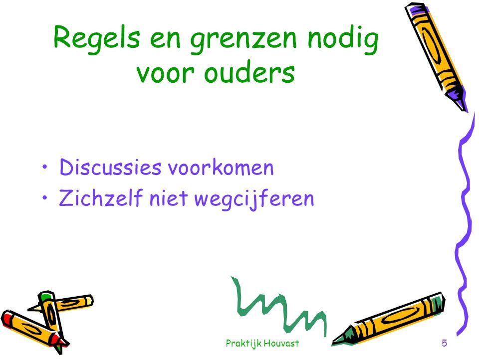 Praktijk Houvast5 Regels en grenzen nodig voor ouders •Discussies voorkomen •Zichzelf niet wegcijferen