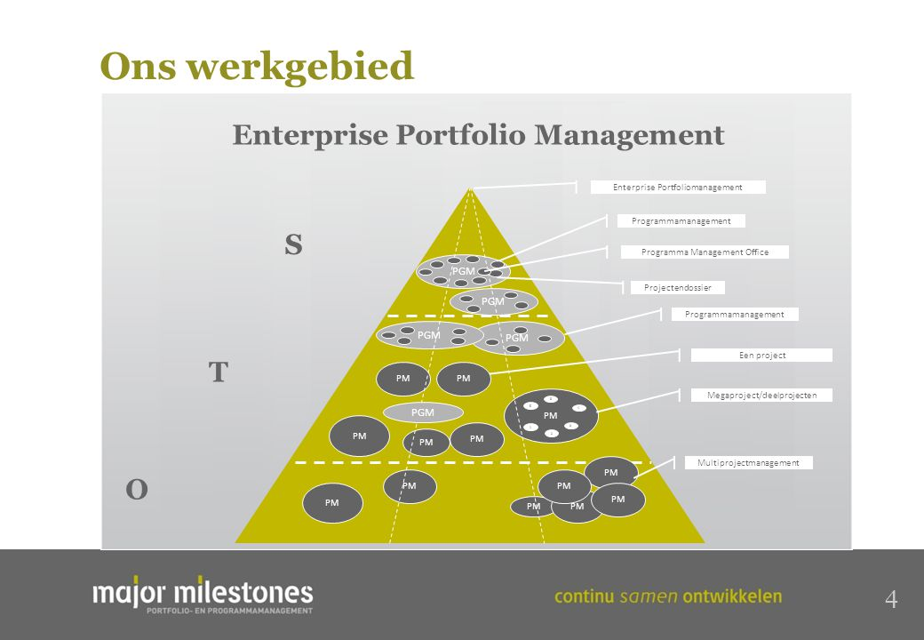 4 Enterprise Portfolio Management S O T PGM PM PGM PM PGM PM PGM Programmamanagement Enterprise Portfoliomanagement Megaproject/deelprojecten Programmamanagement Multiprojectmanagement Projectendossier Programma Management Office PM Een project