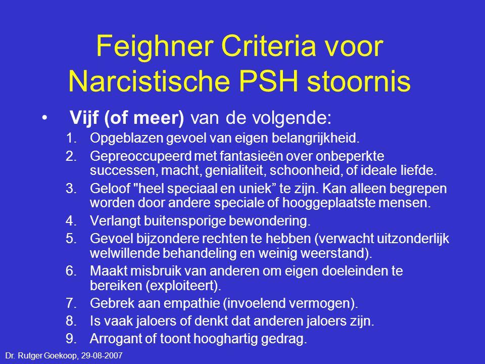 Feighner Criteria voor Narcistische PSH stoornis •Vijf (of meer) van de volgende: 1.Opgeblazen gevoel van eigen belangrijkheid. 2.Gepreoccupeerd met f