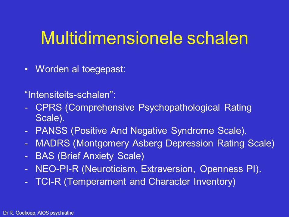 """Multidimensionele schalen •Worden al toegepast: """"Intensiteits-schalen"""": -CPRS (Comprehensive Psychopathological Rating Scale). -PANSS (Positive And Ne"""