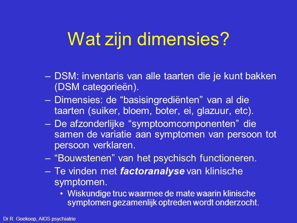 """Wat zijn dimensies? –DSM: inventaris van alle taarten die je kunt bakken (DSM categorieën). –Dimensies: de """"basisingrediënten"""" van al die taarten (sui"""