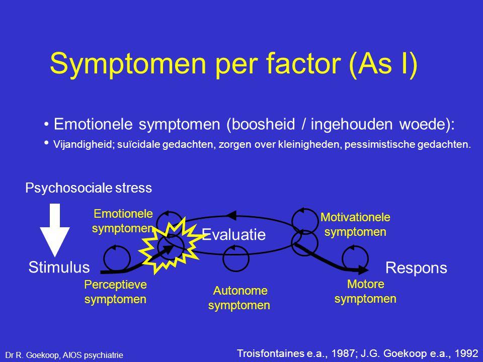 • Emotionele symptomen (boosheid / ingehouden woede): Perceptieve symptomen Stimulus Respons Evaluatie Emotionele symptomen Motivationele symptomen Mo
