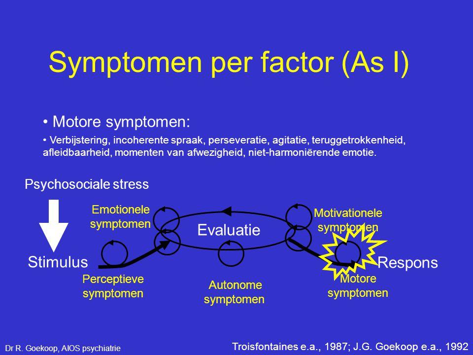 • Motore symptomen: Perceptieve symptomen Stimulus Respons Evaluatie Emotionele symptomen Motivationele symptomen Motore symptomen Autonome symptomen