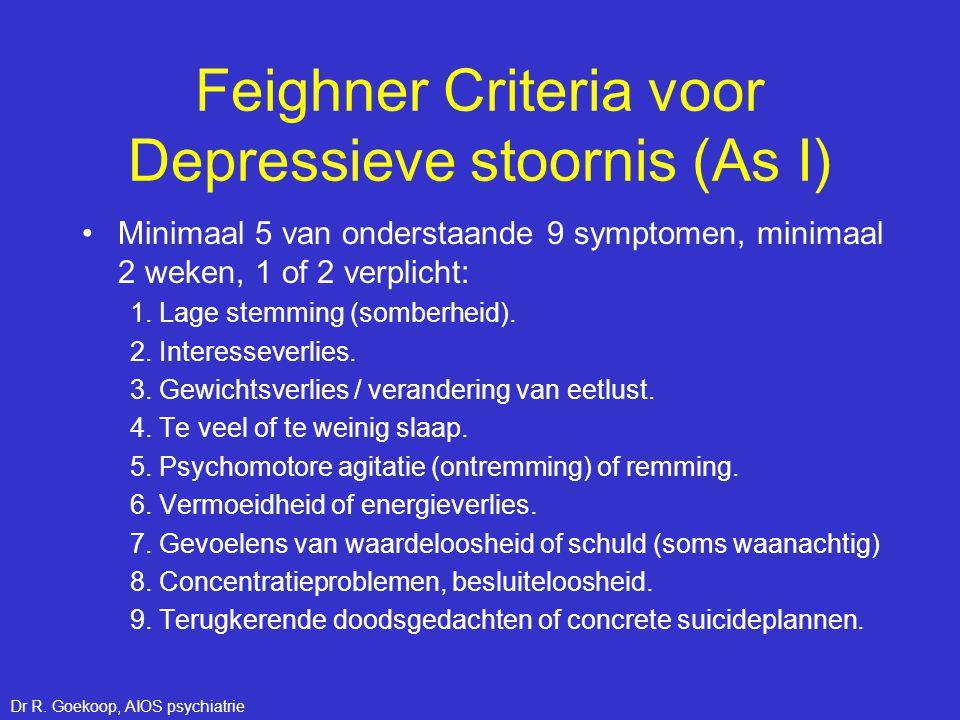 Feighner Criteria voor Depressieve stoornis (As I) •Minimaal 5 van onderstaande 9 symptomen, minimaal 2 weken, 1 of 2 verplicht: 1. Lage stemming (som