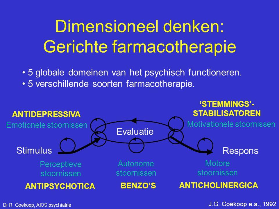• 5 globale domeinen van het psychisch functioneren. • 5 verschillende soorten farmacotherapie. J.G. Goekoop e.a., 1992 Perceptieve stoornissen Stimul