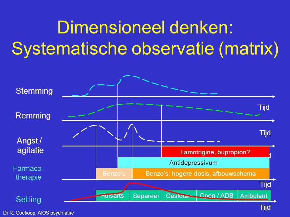 Huisarts SepareerGesloten Open / ADB Ambulant Tijd Stemming Remming Angst / agitatie Farmaco- therapie Tijd Setting Tijd Dimensioneel denken: Systemat