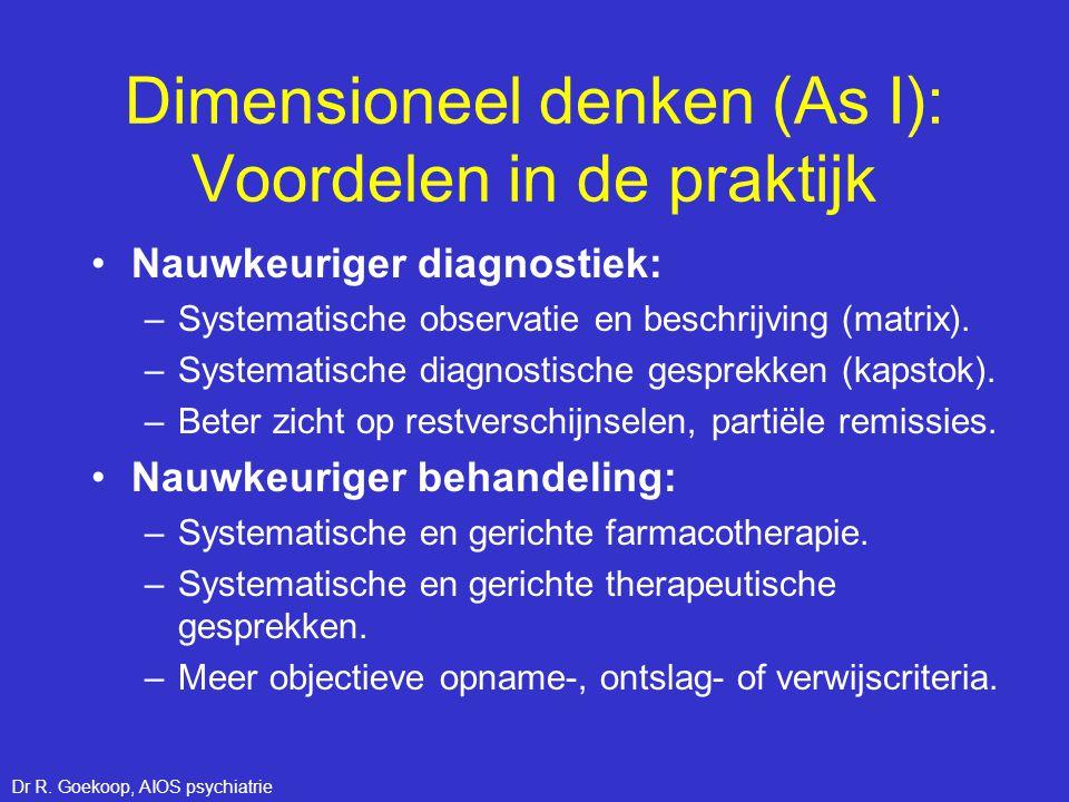 Dimensioneel denken (As I): Voordelen in de praktijk •Nauwkeuriger diagnostiek: –Systematische observatie en beschrijving (matrix). –Systematische dia