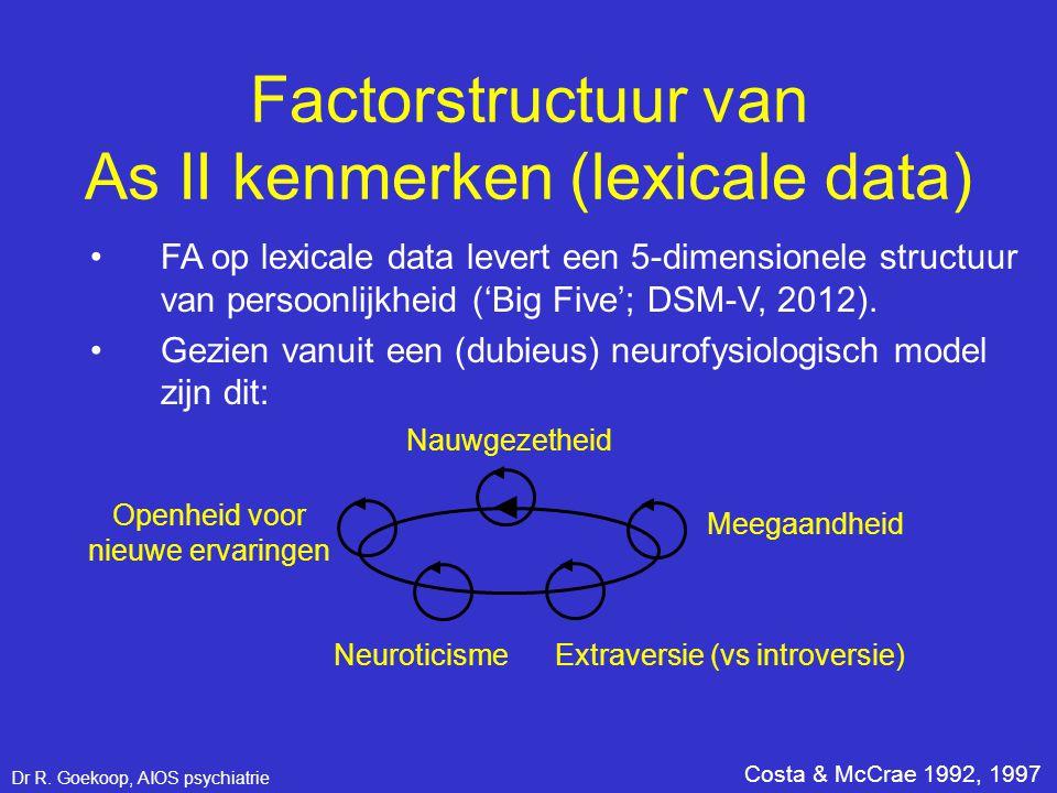 Factorstructuur van As II kenmerken (lexicale data) •FA op lexicale data levert een 5-dimensionele structuur van persoonlijkheid ('Big Five'; DSM-V, 2