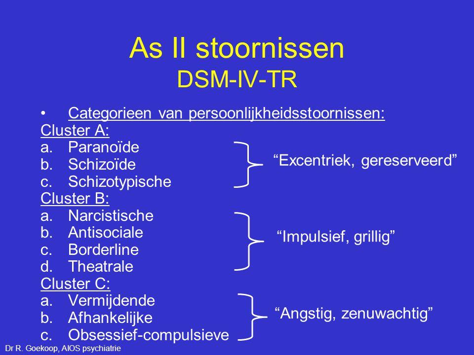 Dimensioneel denken: Ziekteprofielen As I Schizofrenie paranoïde type (DSM-IV-TR) Katatonie Psychotisch Depressief Agressief Geremd Ontremd Auton.