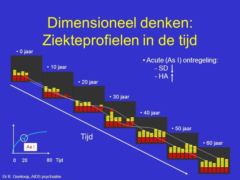 Dimensioneel denken: Ziekteprofielen in de tijd Tijd • Acute (As I) ontregeling: - SD - HA 80 Tijd 0 20 As I • 0 jaar • 10 jaar • 20 jaar • 30 jaar •