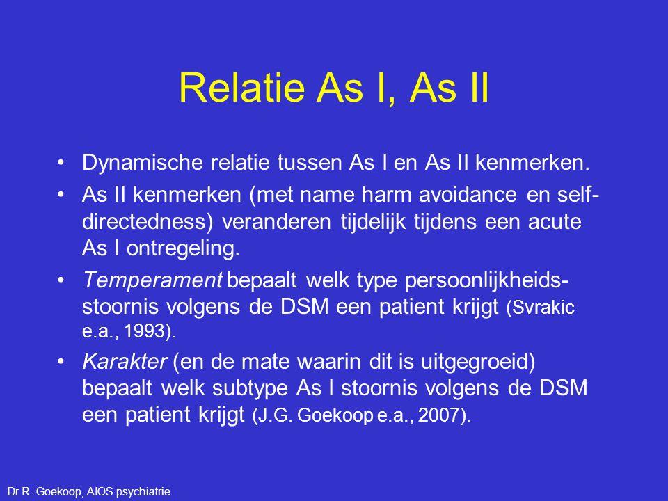 Relatie As I, As II •Dynamische relatie tussen As I en As II kenmerken. •As II kenmerken (met name harm avoidance en self- directedness) veranderen ti