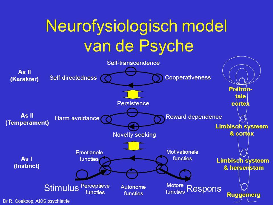 Neurofysiologisch model van de Psyche Self-transcendence Cooperativeness Novelty seeking Reward dependence Harm avoidance Self-directedness Persistenc