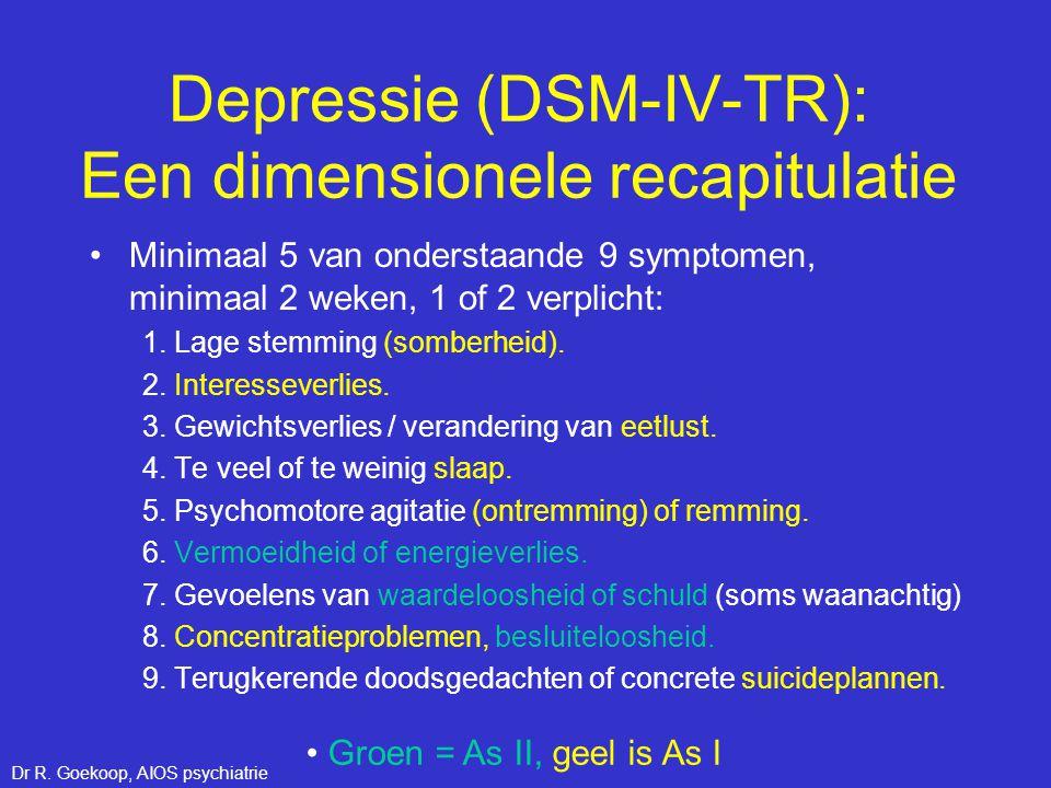 Depressie (DSM-IV-TR): Een dimensionele recapitulatie •Minimaal 5 van onderstaande 9 symptomen, minimaal 2 weken, 1 of 2 verplicht: 1. Lage stemming (