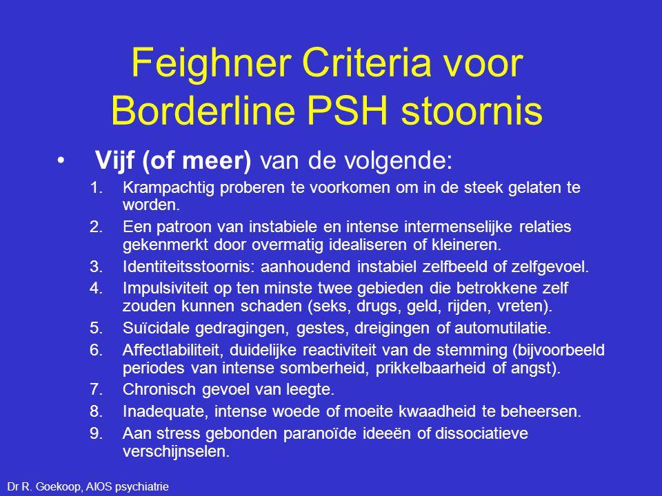 Feighner Criteria voor Borderline PSH stoornis •Vijf (of meer) van de volgende: 1.Krampachtig proberen te voorkomen om in de steek gelaten te worden.