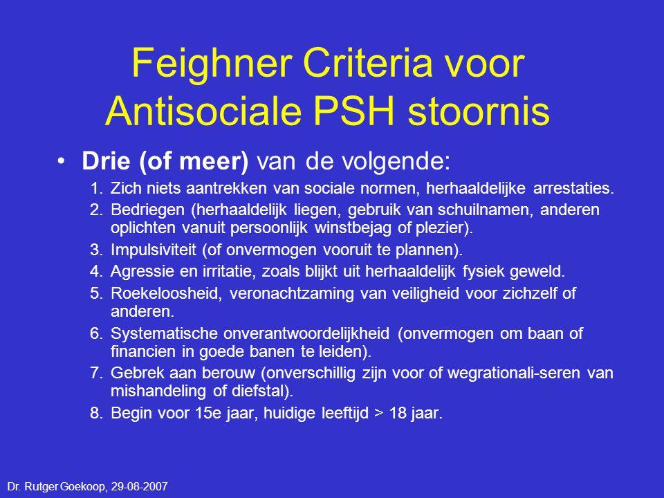 Feighner Criteria voor Antisociale PSH stoornis •Drie (of meer) van de volgende: 1.Zich niets aantrekken van sociale normen, herhaaldelijke arrestatie