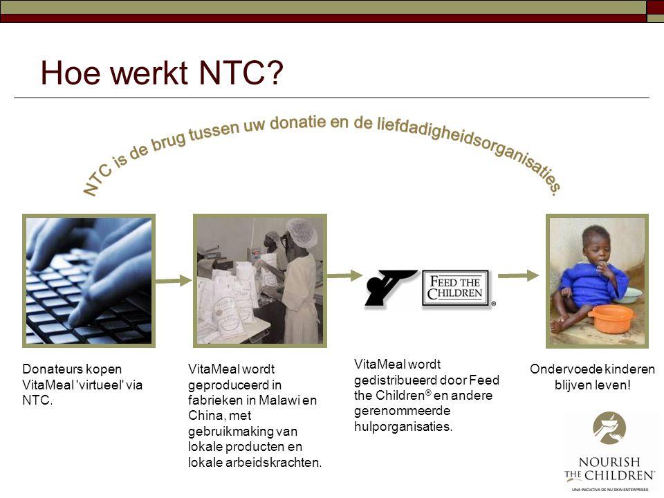 Hoe werkt NTC? Donateurs kopen VitaMeal 'virtueel' via NTC. VitaMeal wordt geproduceerd in fabrieken in Malawi en China, met gebruikmaking van lokale
