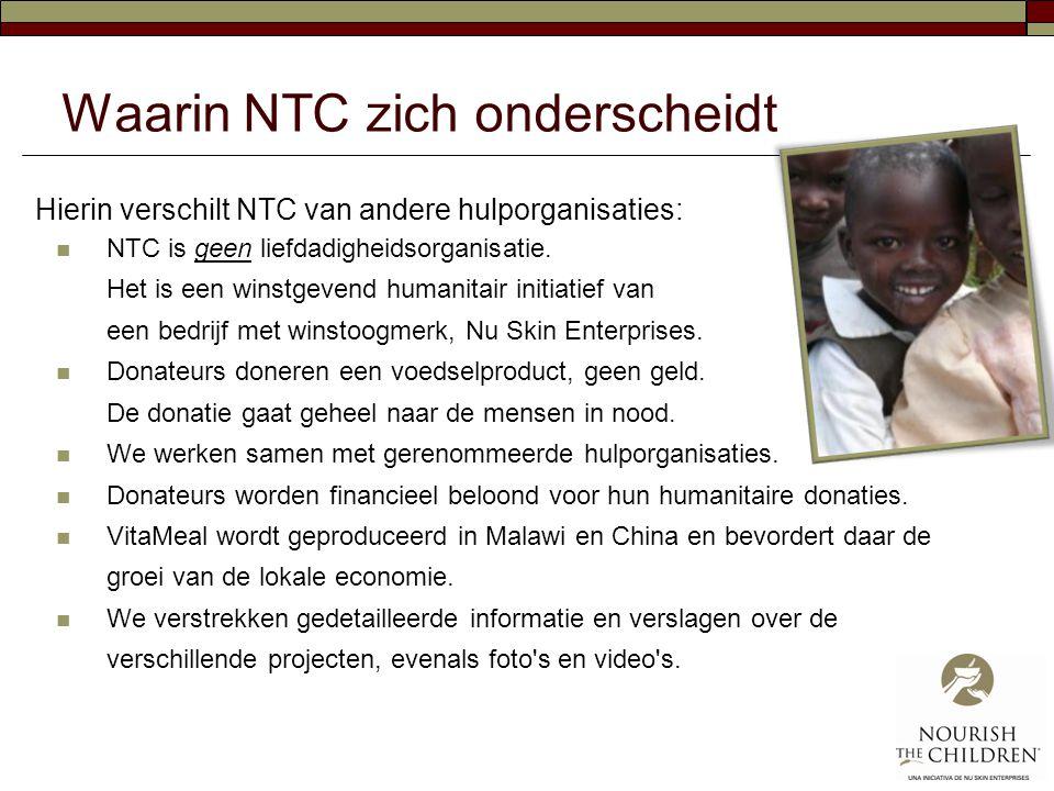 Waarin NTC zich onderscheidt Hierin verschilt NTC van andere hulporganisaties:  NTC is geen liefdadigheidsorganisatie. Het is een winstgevend humanit