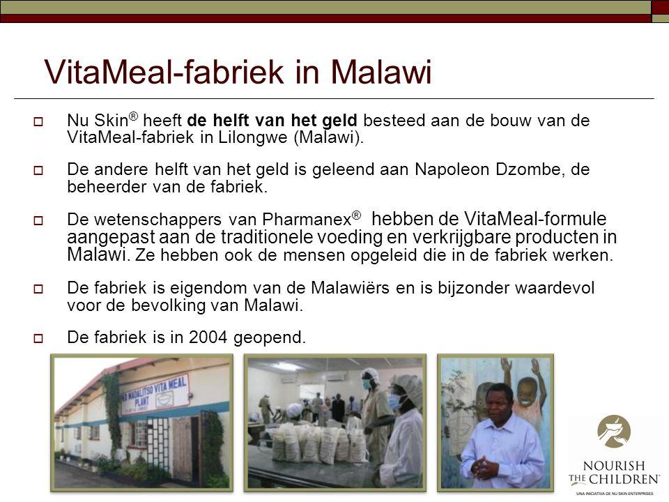 VitaMeal-fabriek in Malawi  Nu Skin ® heeft de helft van het geld besteed aan de bouw van de VitaMeal-fabriek in Lilongwe (Malawi).  De andere helft