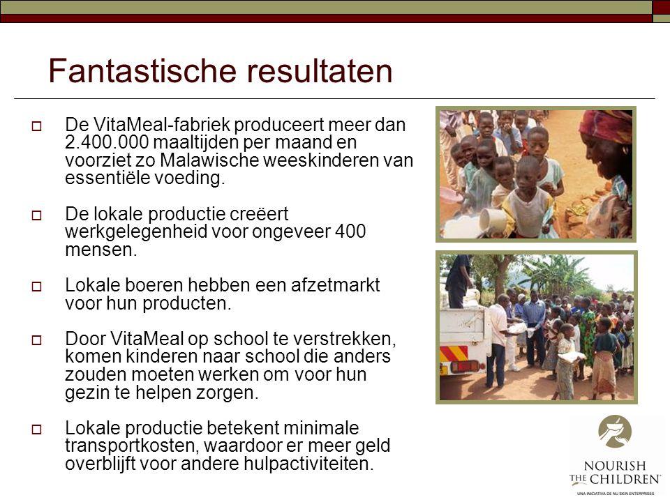 Fantastische resultaten  De VitaMeal-fabriek produceert meer dan 2.400.000 maaltijden per maand en voorziet zo Malawische weeskinderen van essentiële