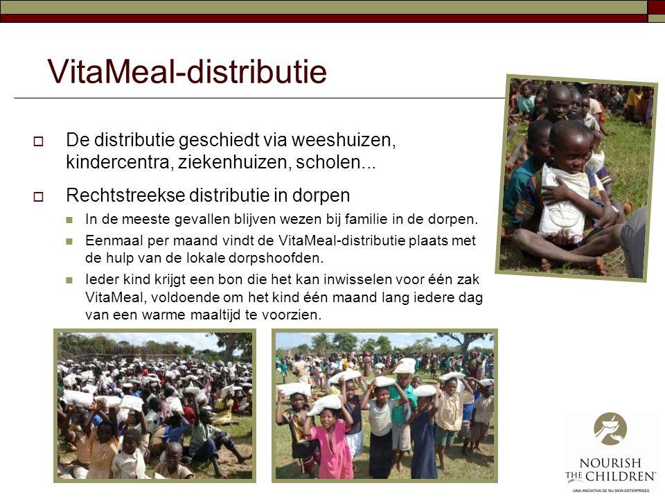 VitaMeal-distributie  De distributie geschiedt via weeshuizen, kindercentra, ziekenhuizen, scholen...  Rechtstreekse distributie in dorpen  In de m