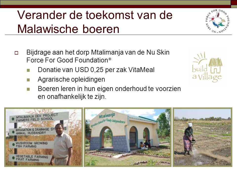 Verander de toekomst van de Malawische boeren  Bijdrage aan het dorp Mtalimanja van de Nu Skin Force For Good Foundation ®  Donatie van USD 0,25 per