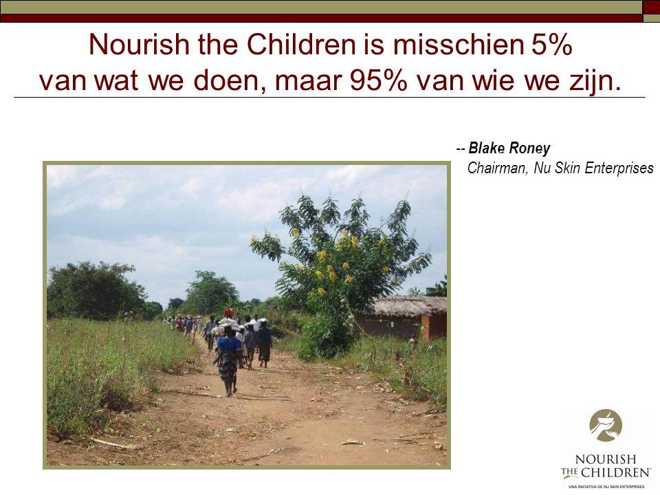 Nourish the Children is misschien 5% van wat we doen, maar 95% van wie we zijn. -- Blake Roney Chairman, Nu Skin Enterprises
