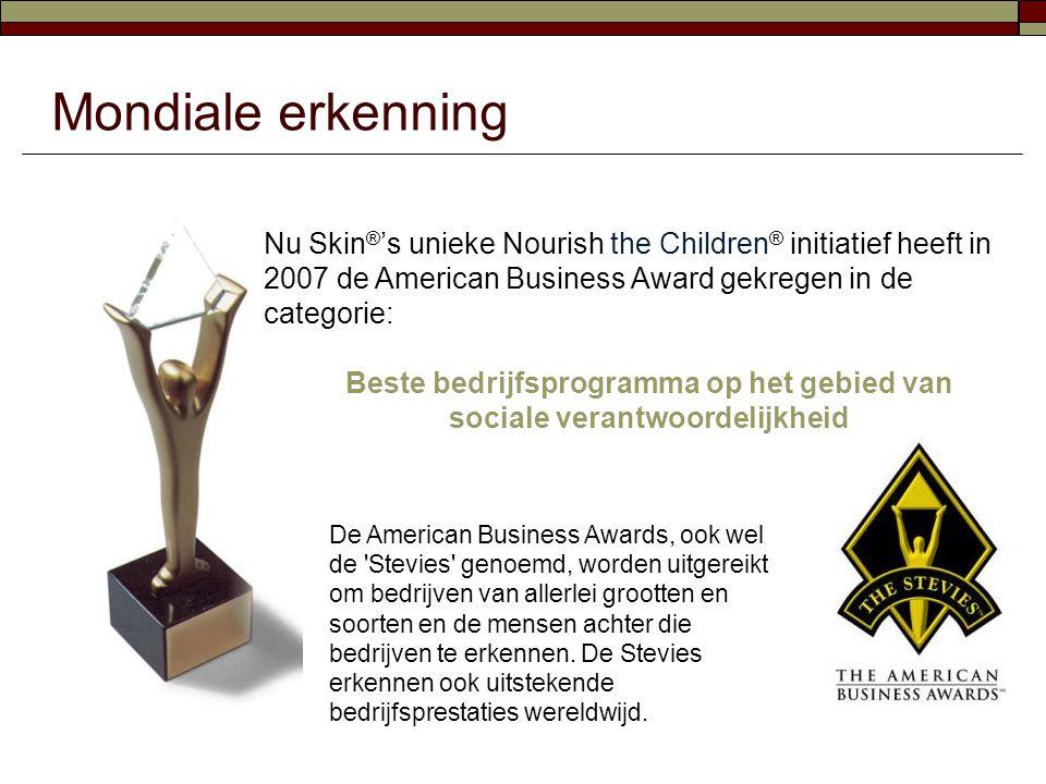 Mondiale erkenning Nu Skin ® 's unieke Nourish the Children ® initiatief heeft in 2007 de American Business Award gekregen in de categorie: Beste bedr