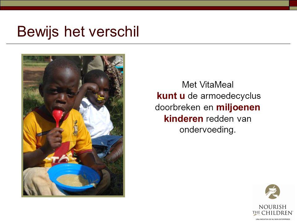Bewijs het verschil Met VitaMeal kunt u de armoedecyclus doorbreken en miljoenen kinderen redden van ondervoeding.