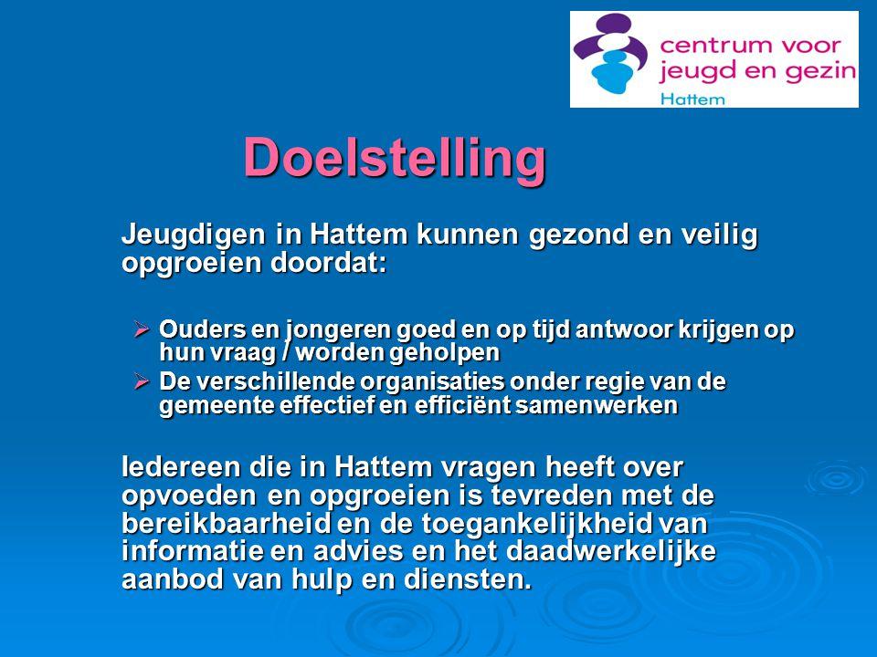 Doelstelling Jeugdigen in Hattem kunnen gezond en veilig opgroeien doordat:  Ouders en jongeren goed en op tijd antwoor krijgen op hun vraag / worden