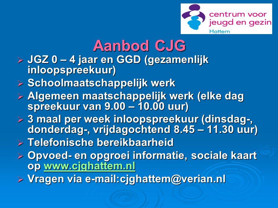 Aanbod CJG  JGZ 0 – 4 jaar en GGD (gezamenlijk inloopspreekuur)  Schoolmaatschappelijk werk  Algemeen maatschappelijk werk (elke dag spreekuur van