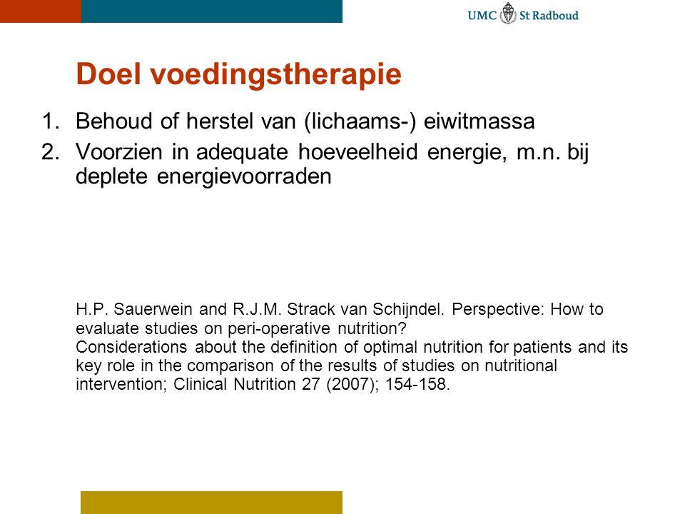 1.Behoud of herstel van (lichaams-) eiwitmassa 2.Voorzien in adequate hoeveelheid energie, m.n. bij deplete energievoorraden H.P. Sauerwein and R.J.M.