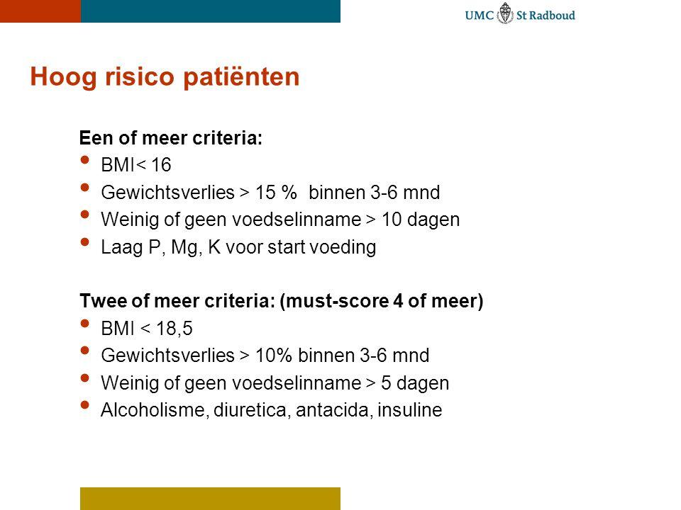 Hoog risico patiënten Een of meer criteria: • BMI< 16 • Gewichtsverlies > 15 % binnen 3-6 mnd • Weinig of geen voedselinname > 10 dagen • Laag P, Mg, K voor start voeding Twee of meer criteria: (must-score 4 of meer) • BMI < 18,5 • Gewichtsverlies > 10% binnen 3-6 mnd • Weinig of geen voedselinname > 5 dagen • Alcoholisme, diuretica, antacida, insuline