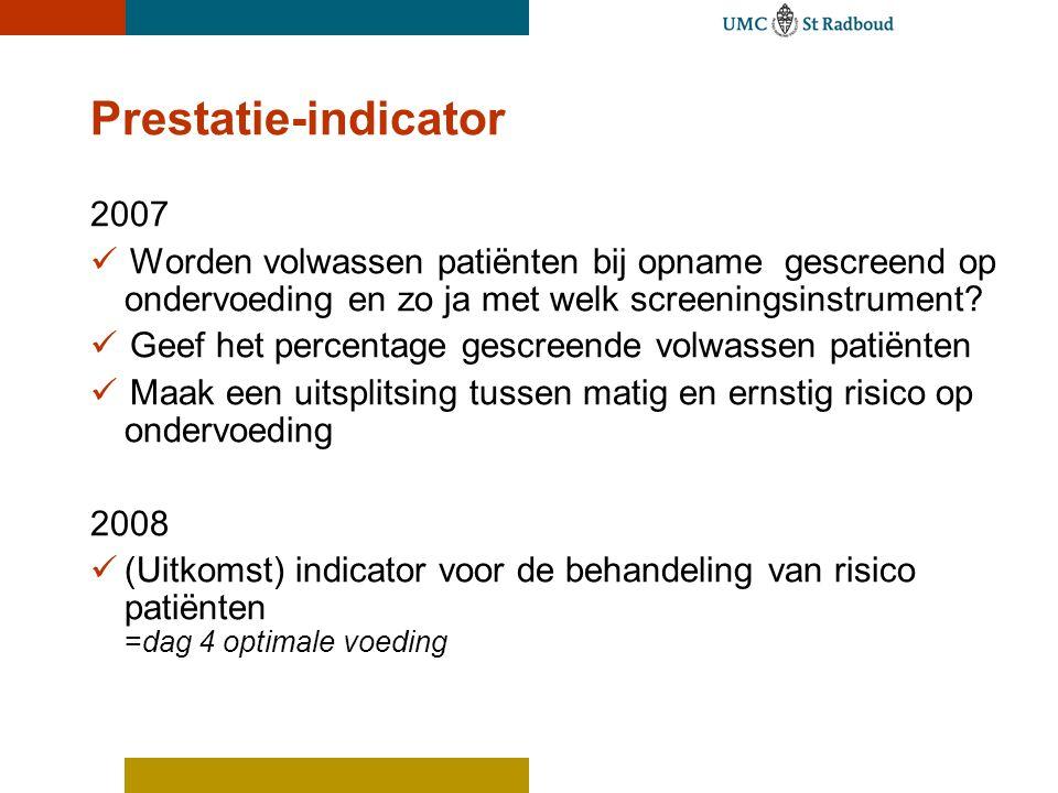 Prestatie-indicator 2007  Worden volwassen patiënten bij opnamegescreend op ondervoeding en zo ja met welk screeningsinstrument?  Geef het percentag