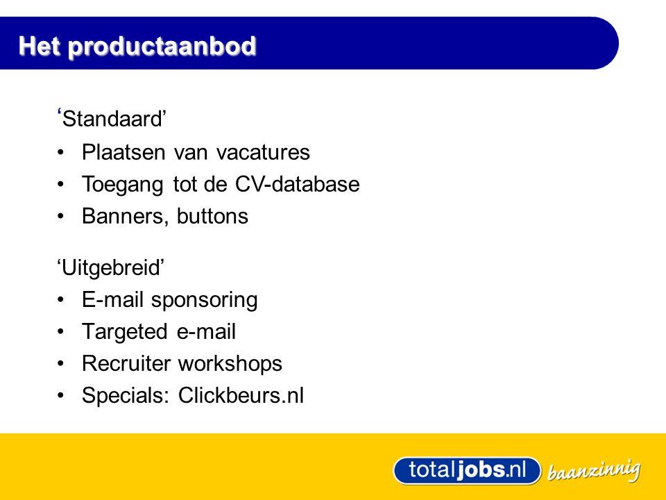 Het productaanbod 'Uitgebreid' •E-mail sponsoring •Targeted e-mail •Recruiter workshops •Specials: Clickbeurs.nl ' Standaard' •Plaatsen van vacatures •Toegang tot de CV-database •Banners, buttons