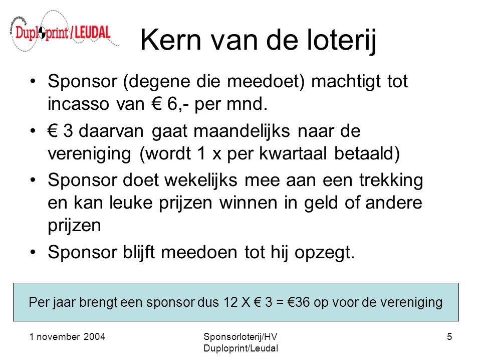 1 november 2004Sponsorloterij/HV Duploprint/Leudal 5 Kern van de loterij •Sponsor (degene die meedoet) machtigt tot incasso van € 6,- per mnd. •€ 3 da