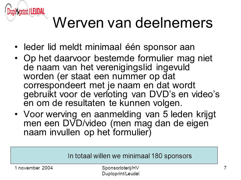 1 november 2004Sponsorloterij/HV Duploprint/Leudal 7 Werven van deelnemers •Ieder lid meldt minimaal één sponsor aan •Op het daarvoor bestemde formuli