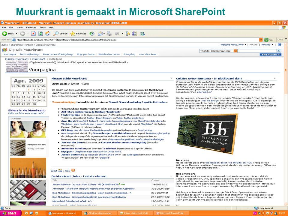 15 Muurkrant is gemaakt in Microsoft SharePoint