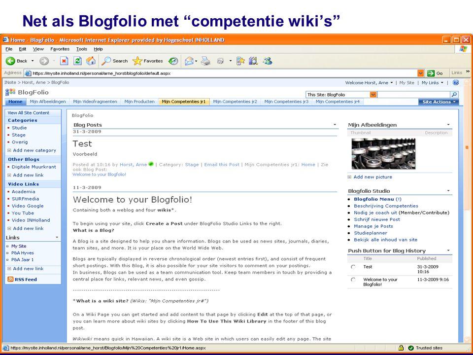 """17 Net als Blogfolio met """"competentie wiki's"""""""