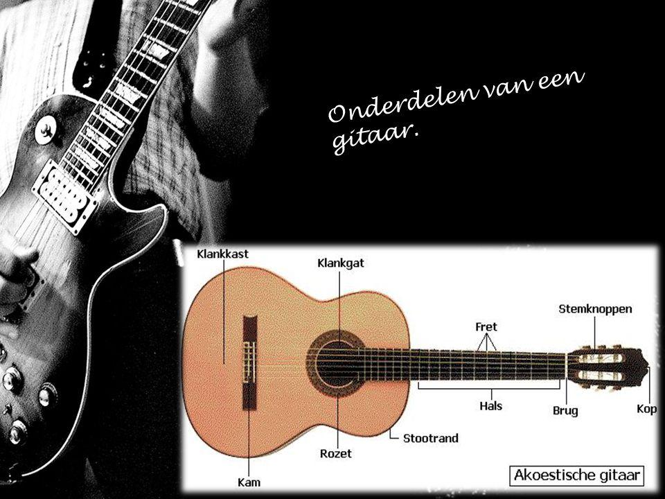 Onderdelen van een gitaar.