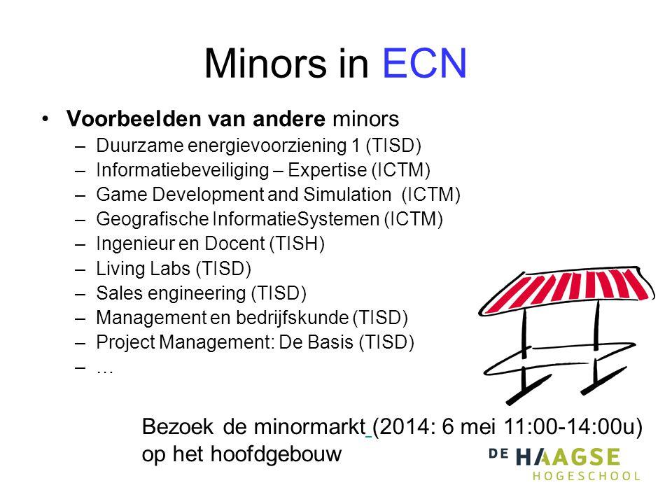 Minors in ECN •Voorbeelden van andere minors –Duurzame energievoorziening 1 (TISD) –Informatiebeveiliging – Expertise (ICTM) –Game Development and Sim