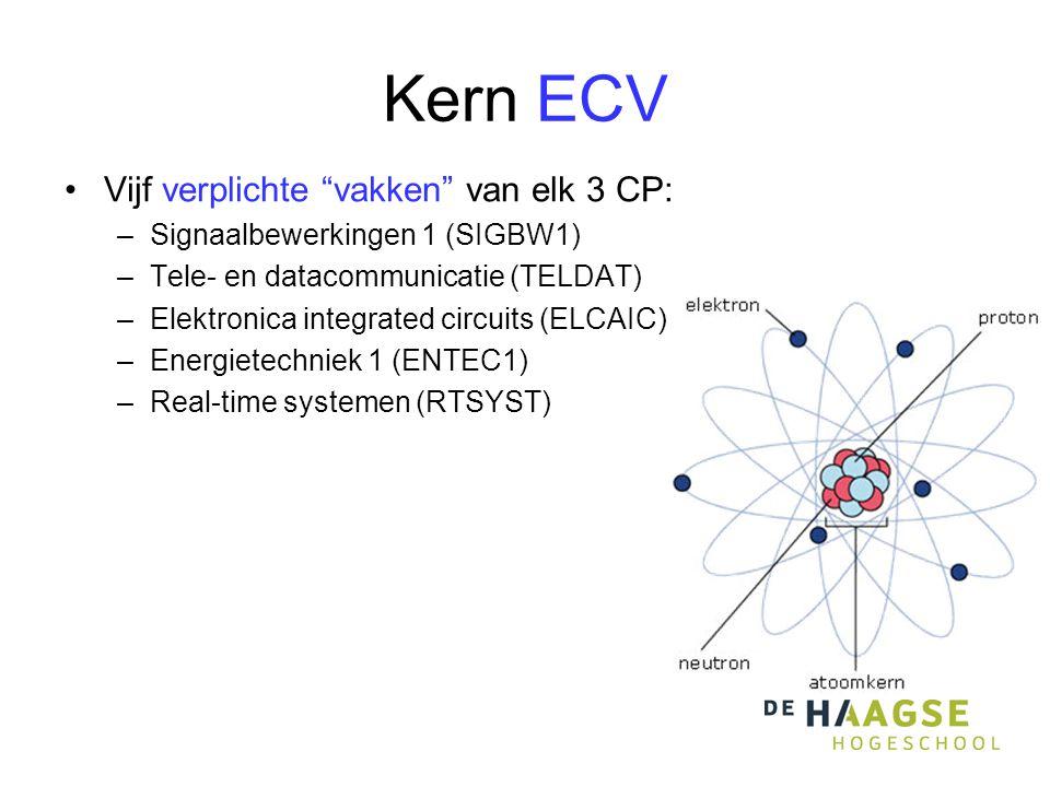"""Kern ECV •Vijf verplichte """"vakken"""" van elk 3 CP: –Signaalbewerkingen 1 (SIGBW1) –Tele- en datacommunicatie (TELDAT) –Elektronica integrated circuits ("""