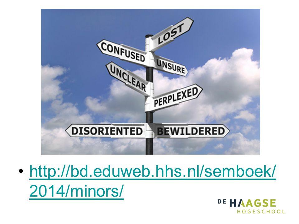 •http://bd.eduweb.hhs.nl/semboek/ 2014/minors/http://bd.eduweb.hhs.nl/semboek/ 2014/minors/
