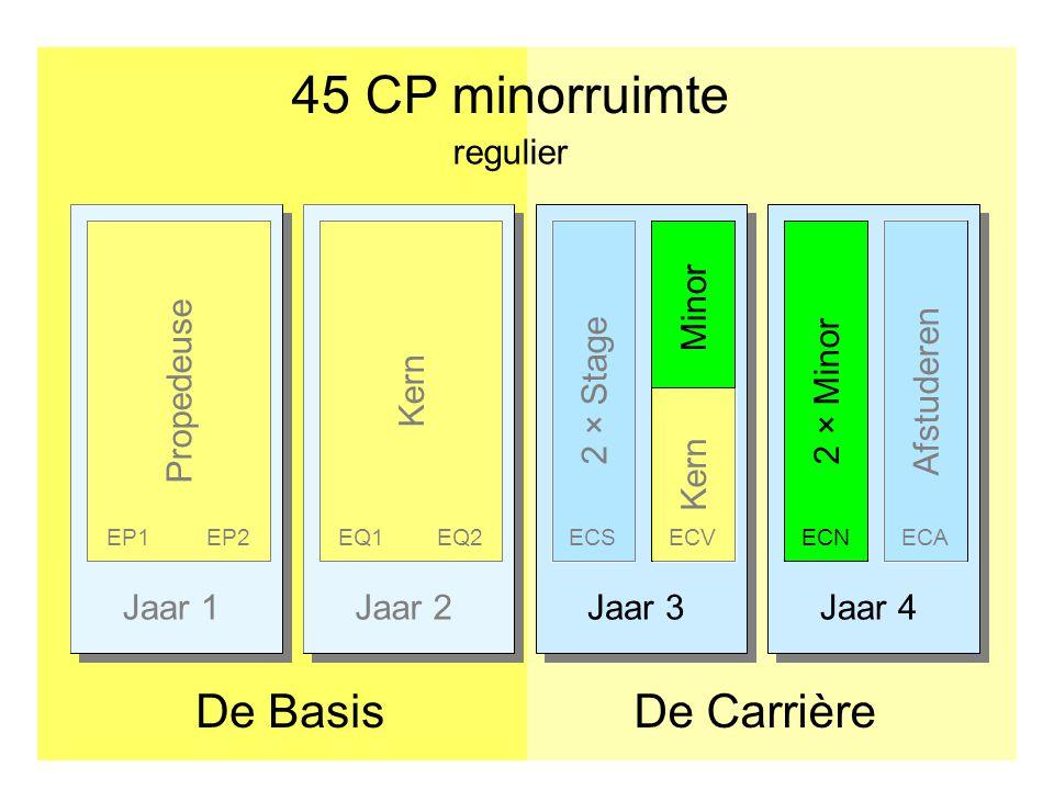 Jaar 1Jaar 2Jaar 3Jaar 4 45 CP minorruimte De CarrièreDe Basis Afstuderen PropedeuseKern 2 × Stage EP1EP2EQ1EQ2ECS 2 × Minor ECNECA regulier Minor Ker