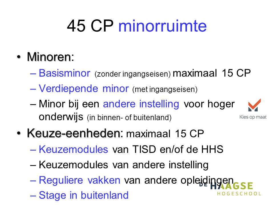 45 CP minorruimte •Minoren •Minoren: –Basisminor (zonder ingangseisen) maximaal 15 CP –Verdiepende minor (met ingangseisen) –Minor bij een andere inst