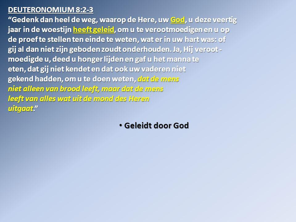 • Geleidt door God DEUTERONOMIUM 8:2-3 Gedenk dan heel de weg, waarop de Here, uw God, u deze veertig jaar in de woestijn heeft geleid, om u te verootmoedigen en u op de proef te stellen ten einde te weten, wat er in uw hart was: of gij al dan niet zijn geboden zoudt onderhouden.