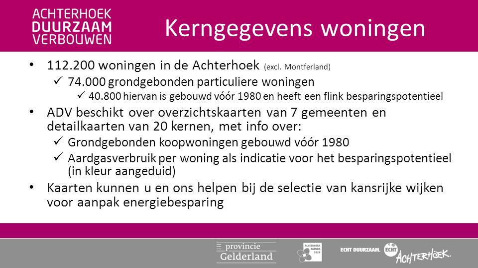 Kerngegevens woningen • 112.200 woningen in de Achterhoek (excl.