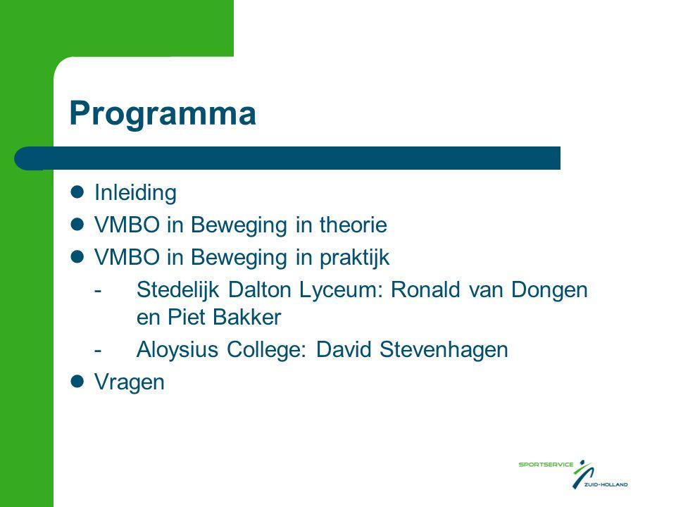 Programma  Inleiding  VMBO in Beweging in theorie  VMBO in Beweging in praktijk -Stedelijk Dalton Lyceum: Ronald van Dongen en Piet Bakker -Aloysius College: David Stevenhagen  Vragen