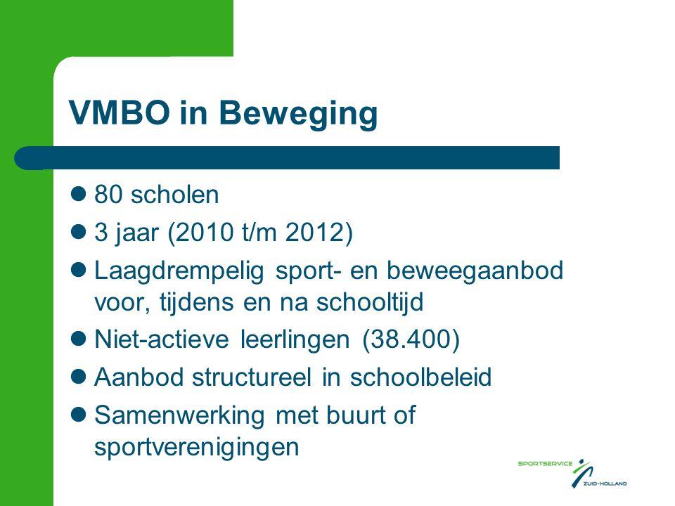 VMBO in Beweging  80 scholen  3 jaar (2010 t/m 2012)  Laagdrempelig sport- en beweegaanbod voor, tijdens en na schooltijd  Niet-actieve leerlingen (38.400)  Aanbod structureel in schoolbeleid  Samenwerking met buurt of sportverenigingen