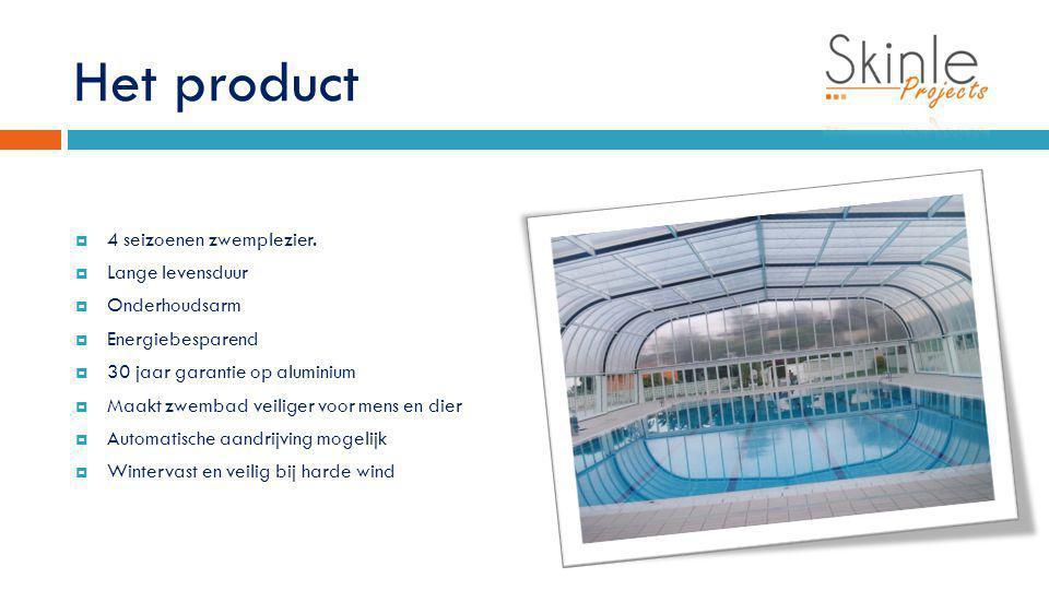 Het product  4 seizoenen zwemplezier.  Lange levensduur  Onderhoudsarm  Energiebesparend  30 jaar garantie op aluminium  Maakt zwembad veiliger