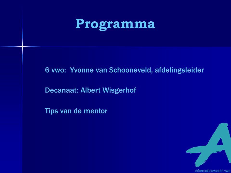 Informatieavond 6 vwo 6 vwo: Yvonne van Schooneveld, afdelingsleider Decanaat: Albert Wisgerhof Tips van de mentor Programma